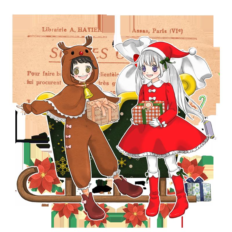 サンタ少女と赤鼻のトナカイ イラスト詳細 らっかみ