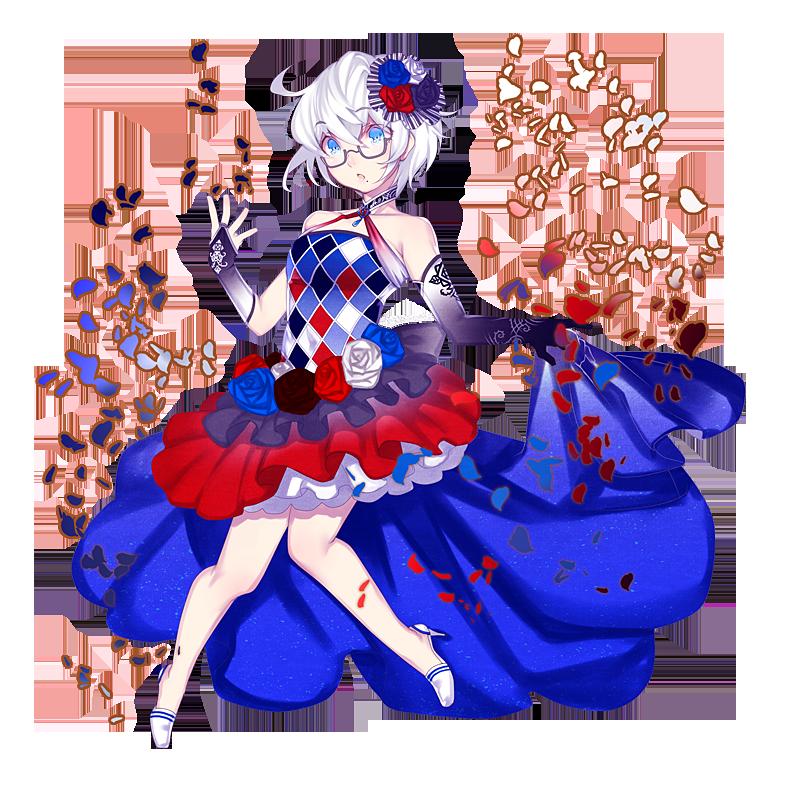 薔薇の花ドレス全身「赤、白、青、黒」 イラスト詳細 らっかみ!